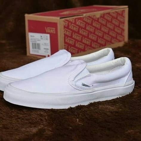 Jual Vans Slip On Full White - Putih