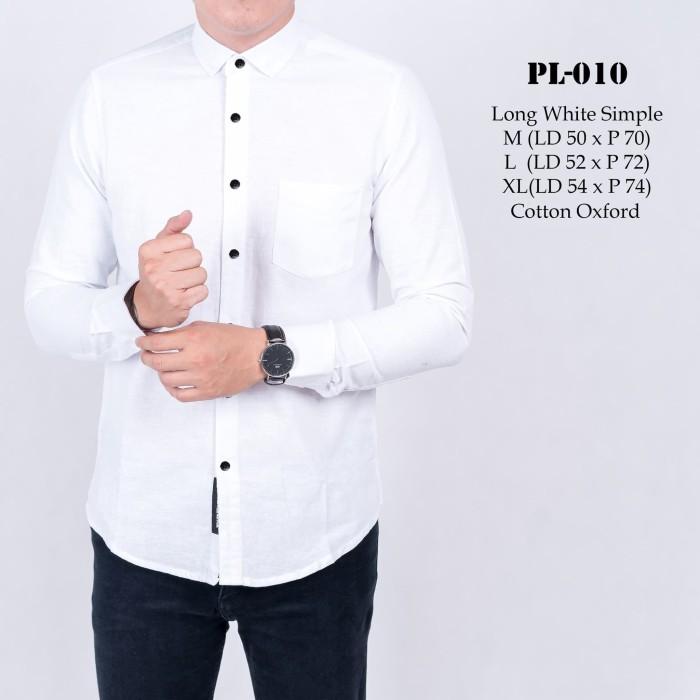 L.Awears PL-010 Kemeja Putih Polos Lengan Panjang ((M, L, XL)