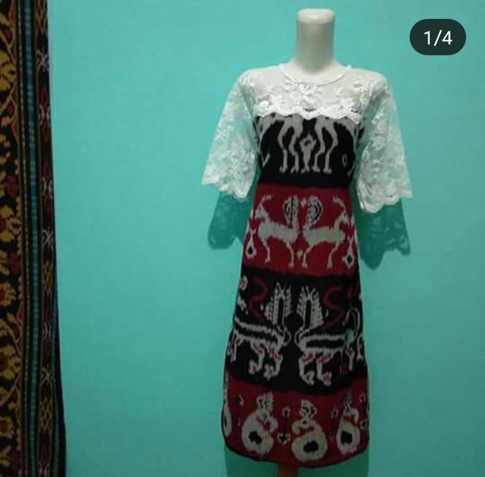 Jual Dress Tenun Menjangan Kombinasi Brokat Elegan Kab Jepara Baju Tenun Tokopedia