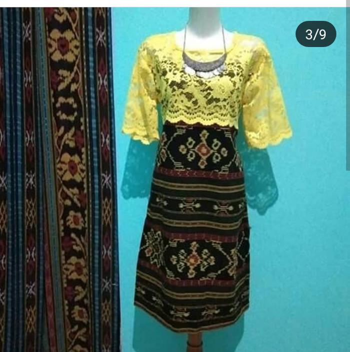 Jual Dress Tenun Bunga Kombinasi Brokat Kab Jepara Baju Tenun Tokopedia