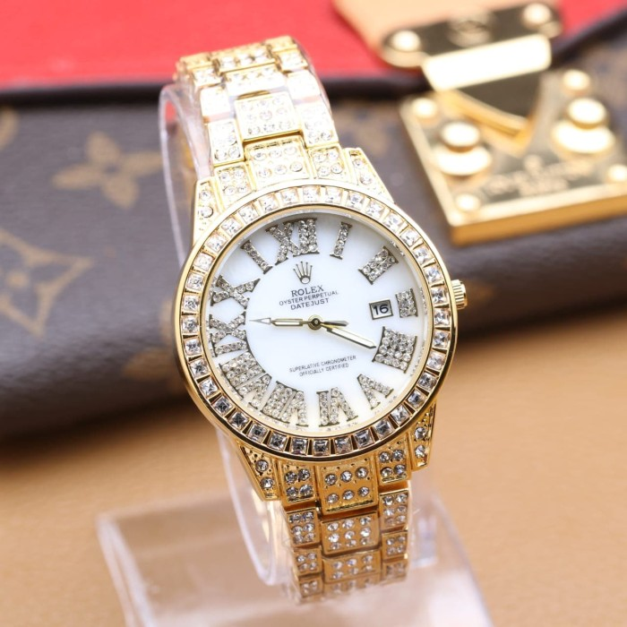 Rolex Jam Tangan Wanita Analog Crystal - Watch Analog Rolex 8
