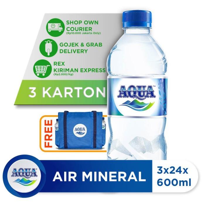 Beli 3 Box AQUA Air Mineral 600ml GRATIS Tote Bag AQUA [P]
