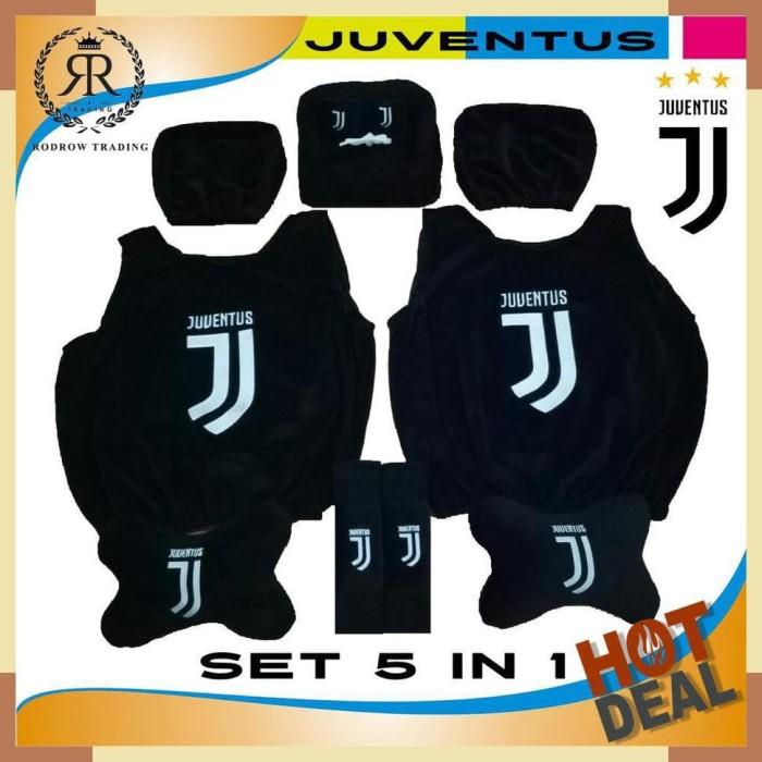 Bantal Mobil Juventus Set 5 in 1 - Sarung Jok Mobil Juventus Set 5 in