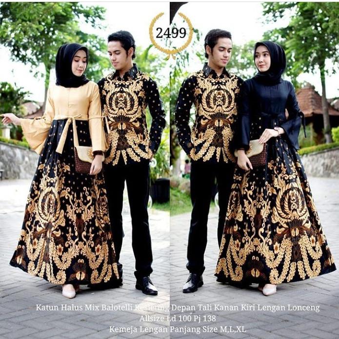 Jual Baju Batik Couple Gamis Untuk Pesta Anak Muda Modern Model Kombinasi Kota Pekalongan Batik Bildashop Modern Tokopedia
