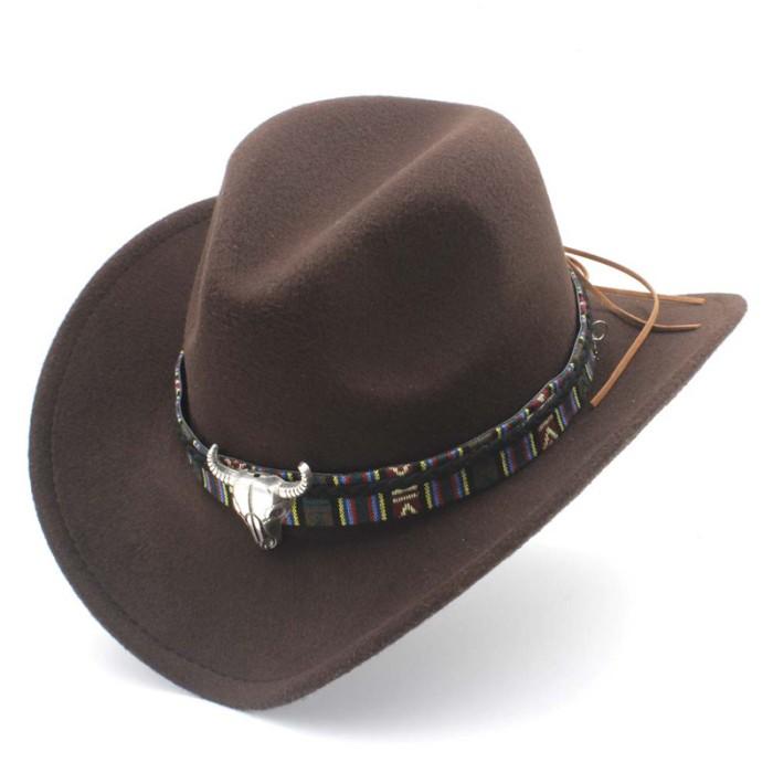 Topi Cowboy Impor Retro Wol Wanita Pria Berongga Cowgirl Western Cowbo 6744a13ef0