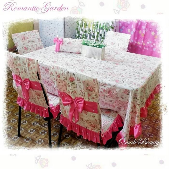 Jual Dining Table Set Dan Sarung Tissu Motif Romantic Garden Mix