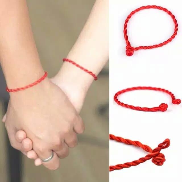 Foto Produk Gelang Jodoh Tali Merah Perfect Match 2mm - Merah dari JeWel Collections