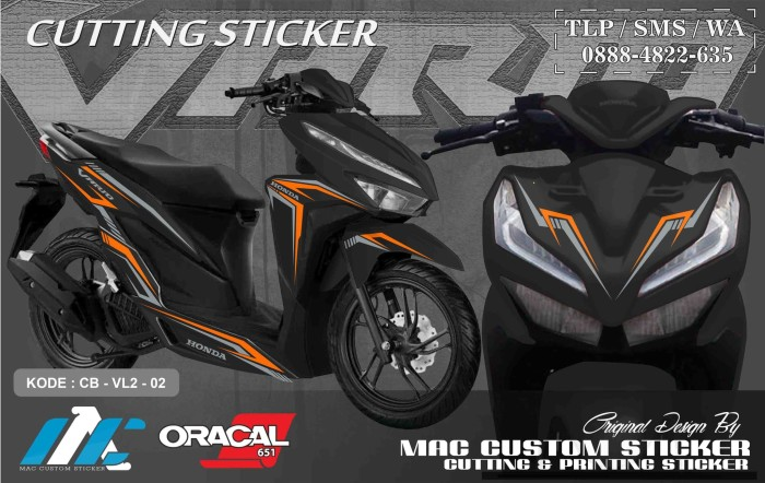 Jual Cutting Sticker Stiker Vario 125 150 Facelift Type 2 Hitam