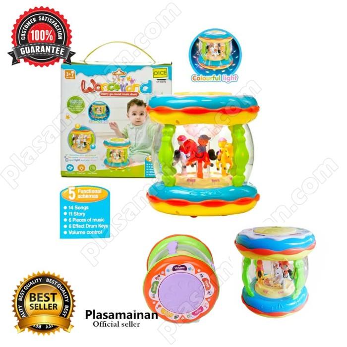 harga Wonderland merry go round music drum mini mainan baby - multicolour Tokopedia.com
