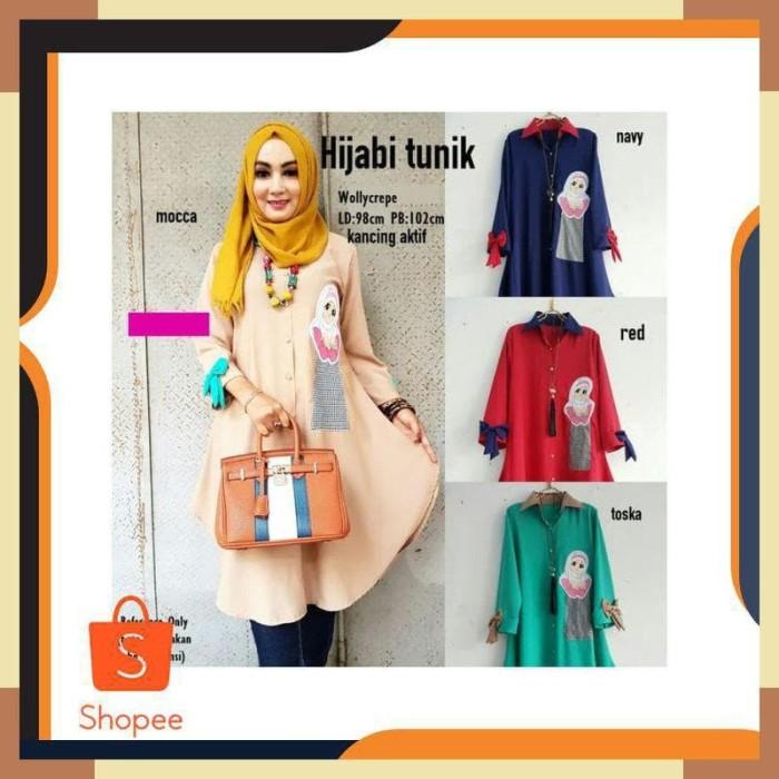 Jual Baju Gamis Pesta Remaja Kekinian Terbaru Hijabi Tunik Mocca