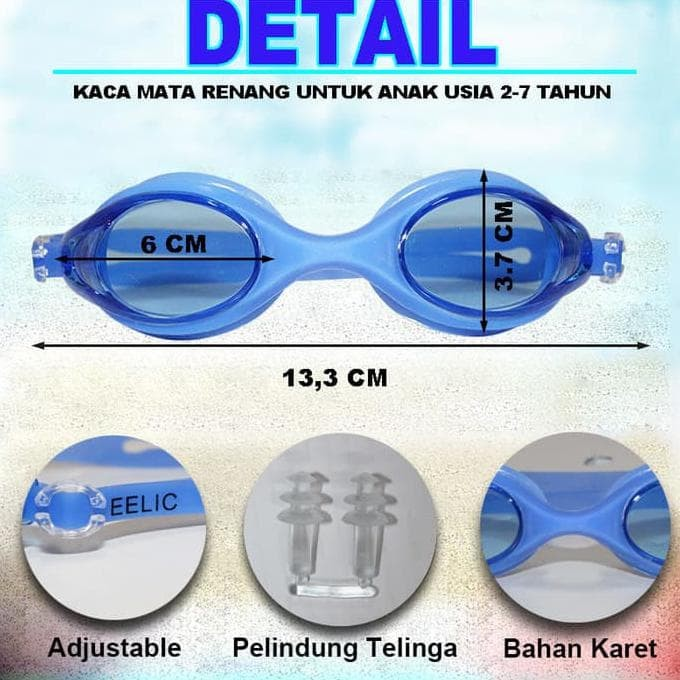 jual EELIC KAR-9700 BIRU Kaca Mata Renang Anak Usia 2 - 7 Tahun ready