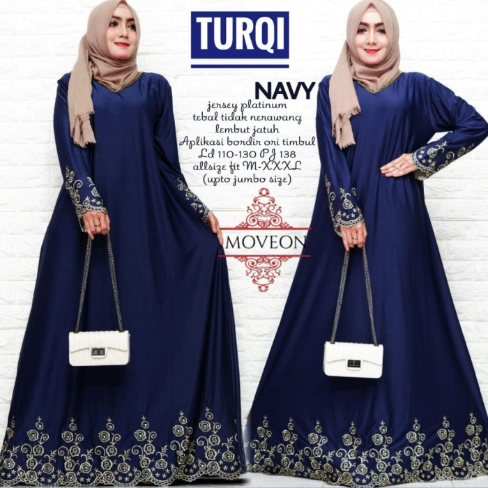 Jual Turqi Maxy Gamis Muslim Adem Bahan Jersey Dress Pesta Cantik