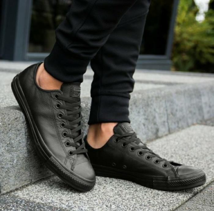 (ORIGINAL) Sepatu Converse Chuck Taylor All Star Leather ox Mono Black 27da0a3b44