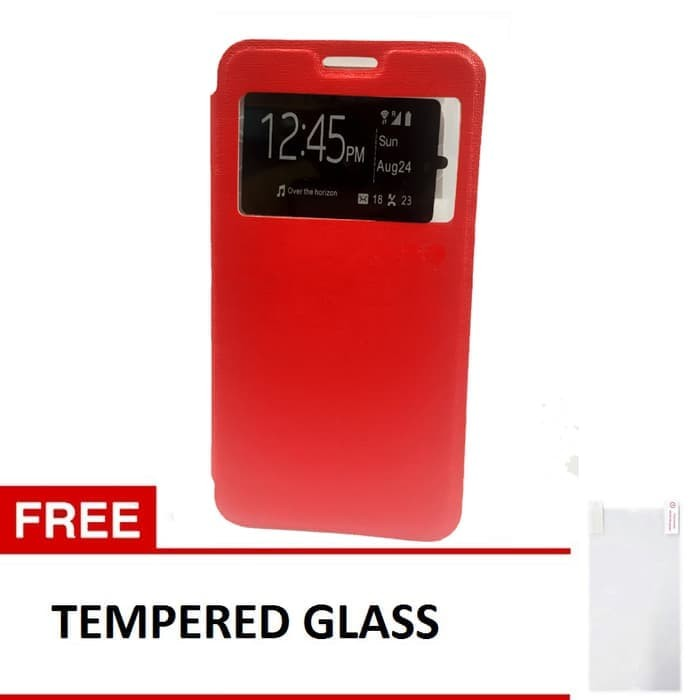 Hardcase Case Flip Cover for Xiaomi Redmi Note 4 + Tempered Glass - Merah