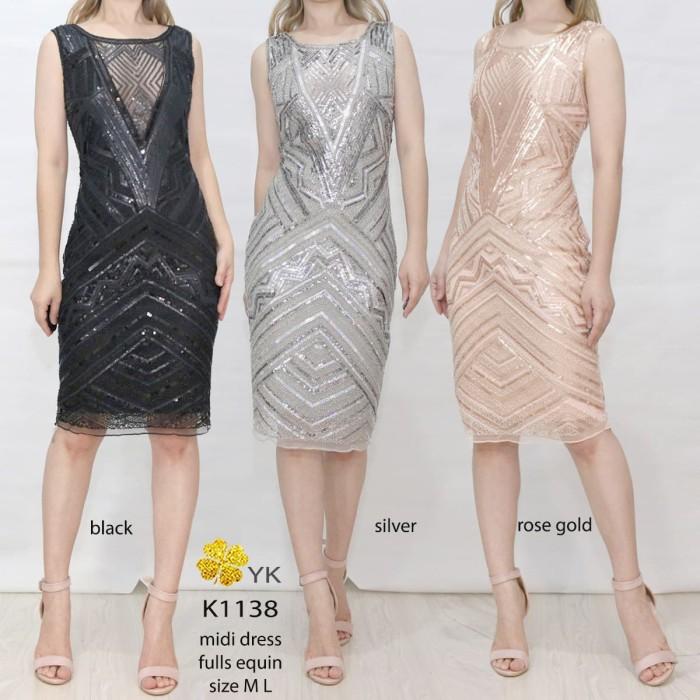 harga Ykdress 1138 dress pesta blink manik import silver rose hitam wedding Tokopedia.com