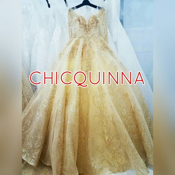 Jual Pre Order Gaun Pengantin Long Hand Gold Wedding Dress Import Murah Chicquinna Gown Tokopedia