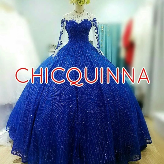 Jual Pre Order Wedding Dress Gaun Pengantin Biru Navy Cantik New