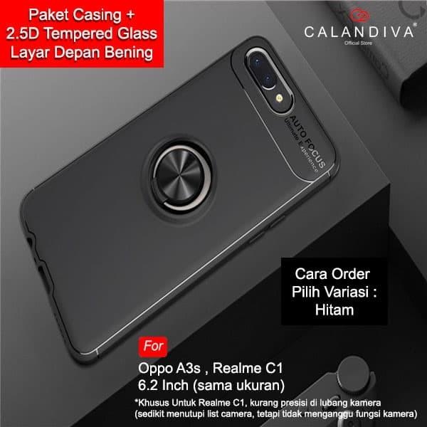 harga Calandiva case oppo a3s realme c1 casing ultimate ring kickstand + tg - hitam Tokopedia.com