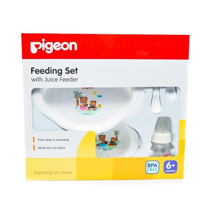 Foto Produk Set alat makan bayi / Pigeon Feeding Set with Juice Feeder dari Moi and Moi Babies&Kids