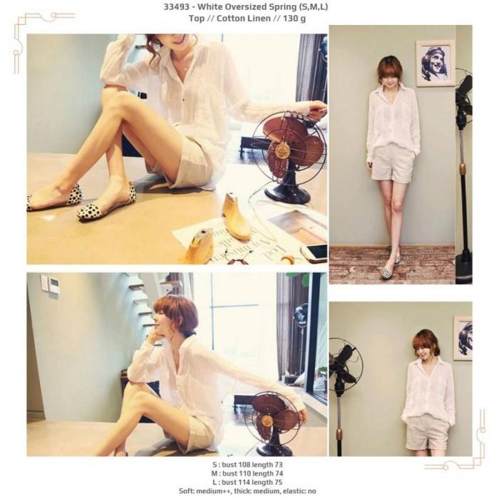 Foto Produk 33493 White Oversized Spring Top / Blouse Putih Polos dari XineShop