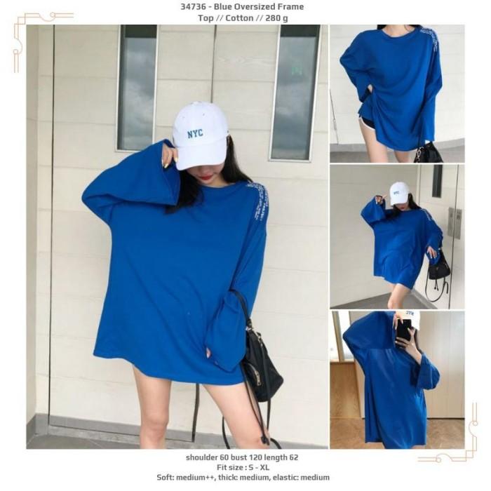 Foto Produk 34736 Blue Oversized Frame Top / Blouse Jumbo Biru dari XineShop