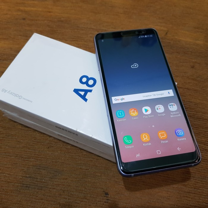 Jual Hp Second Samsung A8 2018 Orchid Grey Fullset Kota Balikpapan