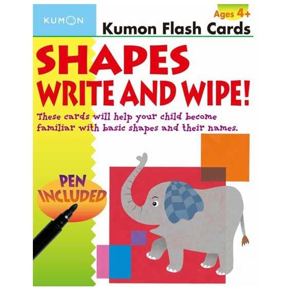 Kumon Flash Cards Shapes Write and Wipe! (pen included)