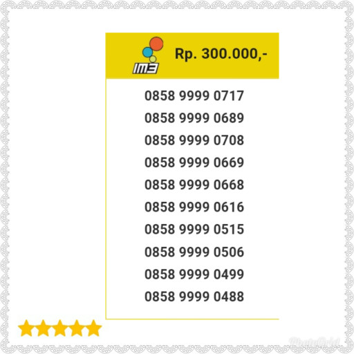Nomor Cantik Indosat IM3 Seri Kuartet 9999-0858 9999 0717 Unik H11