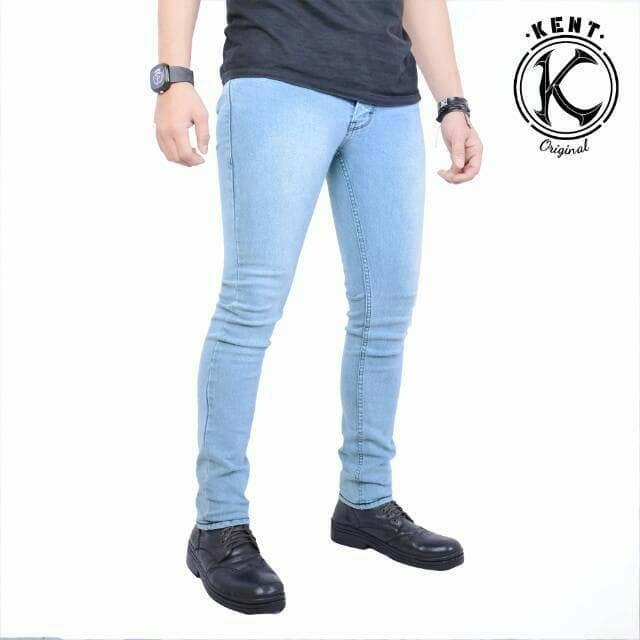 Celana Jeans Pria Panjang Biru Langit Cowok Casual GRATIS Gelang MODIS