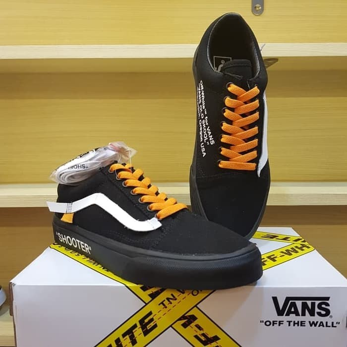 Sepatu Vans Old Skool Collabs Air Jordan Off White All Black