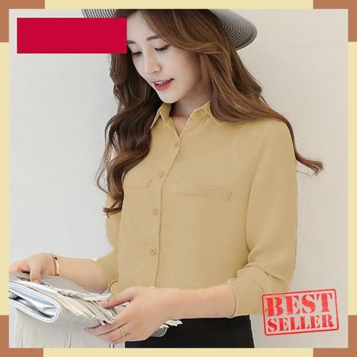 OkeCHuku Kemeja UMMI Wanita Basic Korean Style Long Sleeve Plain