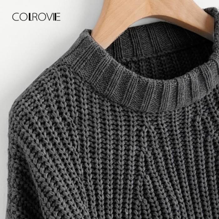 8a3cd8318 Jual COLROVIE Split Solid Korean Elegant Crop Grey Sweater Women ...