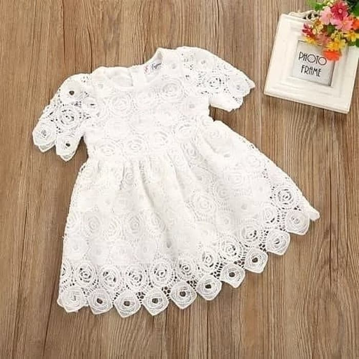 harga Dress bayi perempuan putih lengan pendek model brukat Tokopedia.com