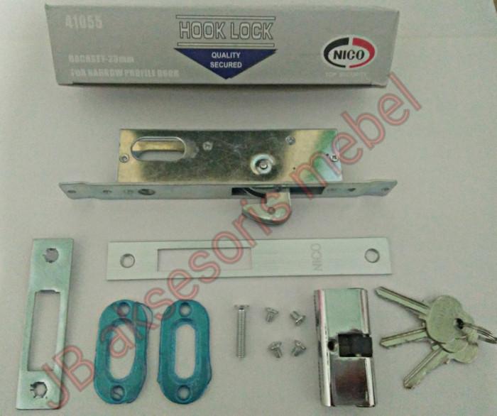 Foto Produk KUNCI PINTU SLIDING GESER ALUMINIUM MERK NICO / ALUMINIUM LOCK KAIT dari JB aksesoris mebel
