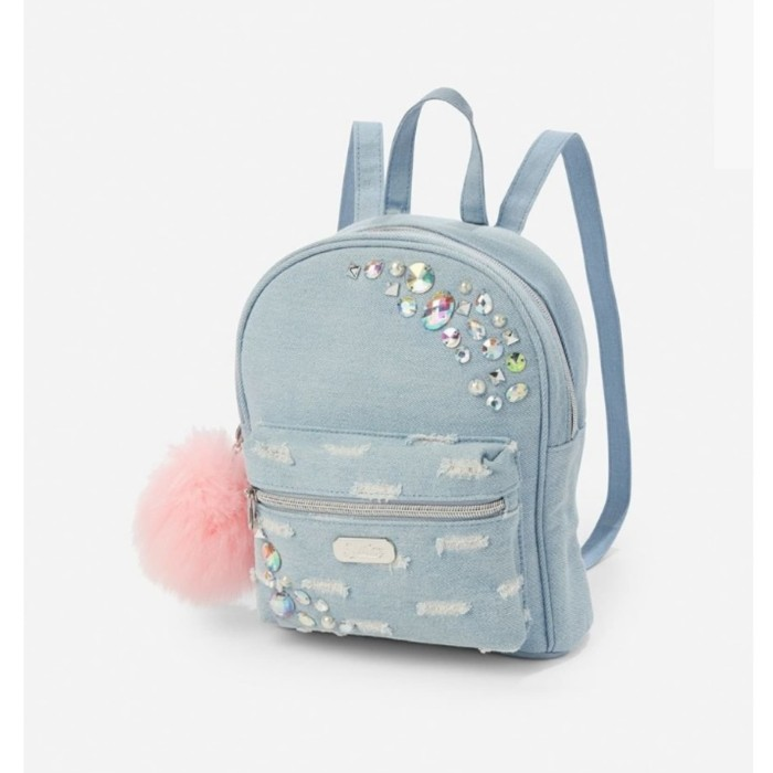 Tas justice mini backpack denim jeans flip sequin ransel original