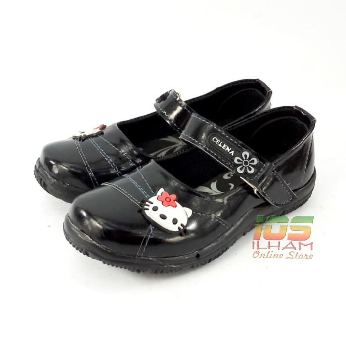 harga Celena f10 sepatu pantofel anak hello kitty kilap size 26-35 hitam Tokopedia.com