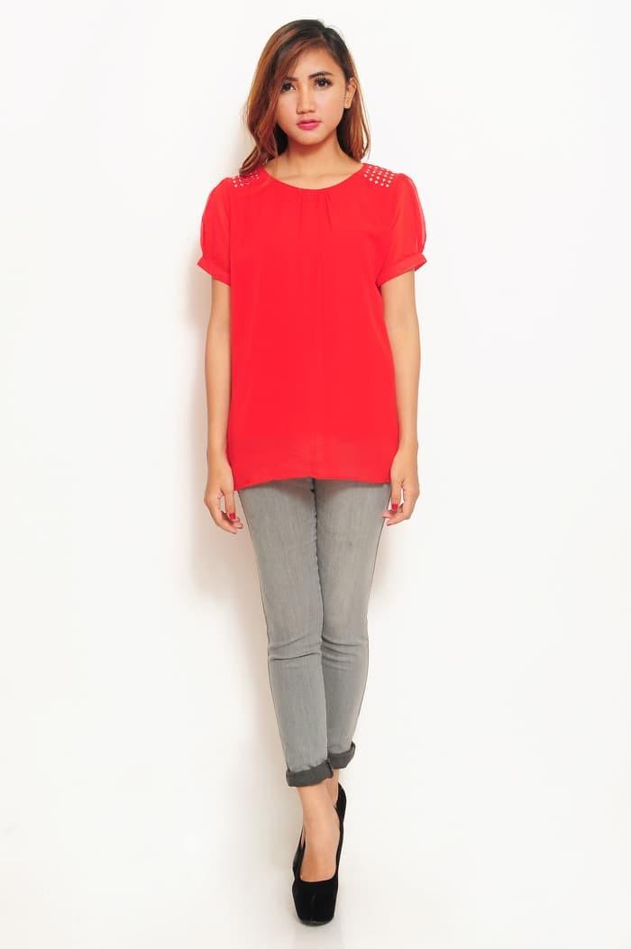 Murmer Korean Style Blus Chiffon Variasi Mote Short SLeeve - Biru