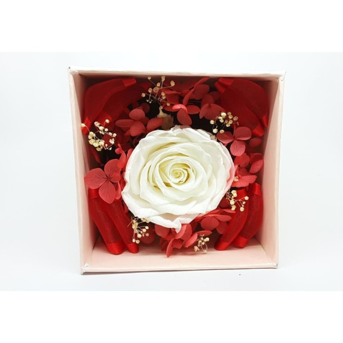 Amefurashi Bloom Box White Rose Beauty Preserved Flower Berkualitas