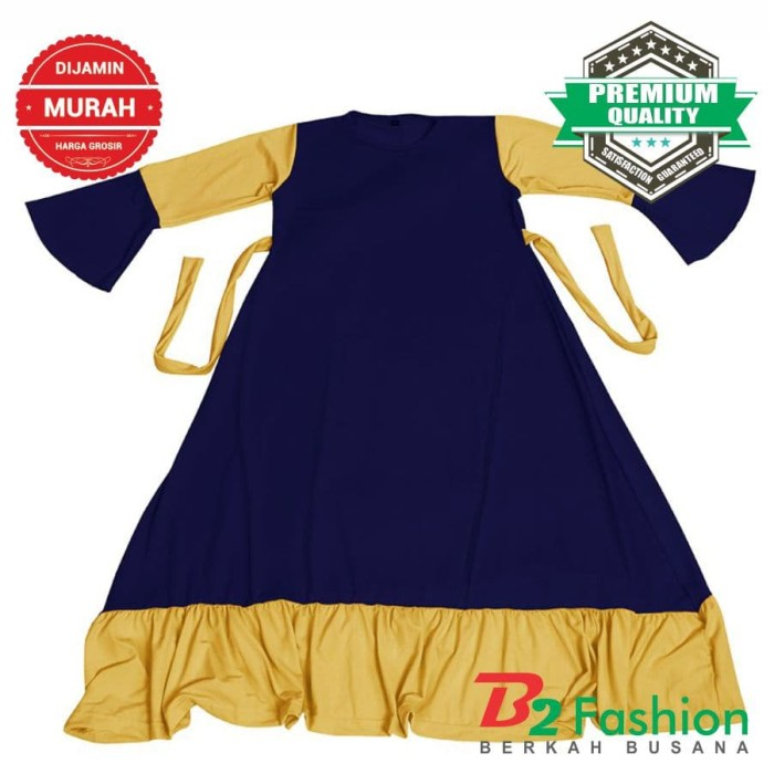 Baju Gamis Anak Perempuan Murah Navy Jersey Aksen V 1 s.d 10 Thn