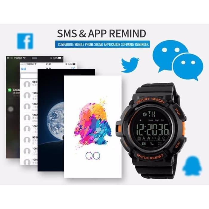 SKMEI Jam Tangan Olahraga Smartwatch Bluetooth - DG1245 BL - Black B