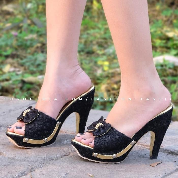 Highheels Murah RAELLA HEELS Brukat KREM SM25 Sepatu Hak tinggi Wanita - Krem, 37