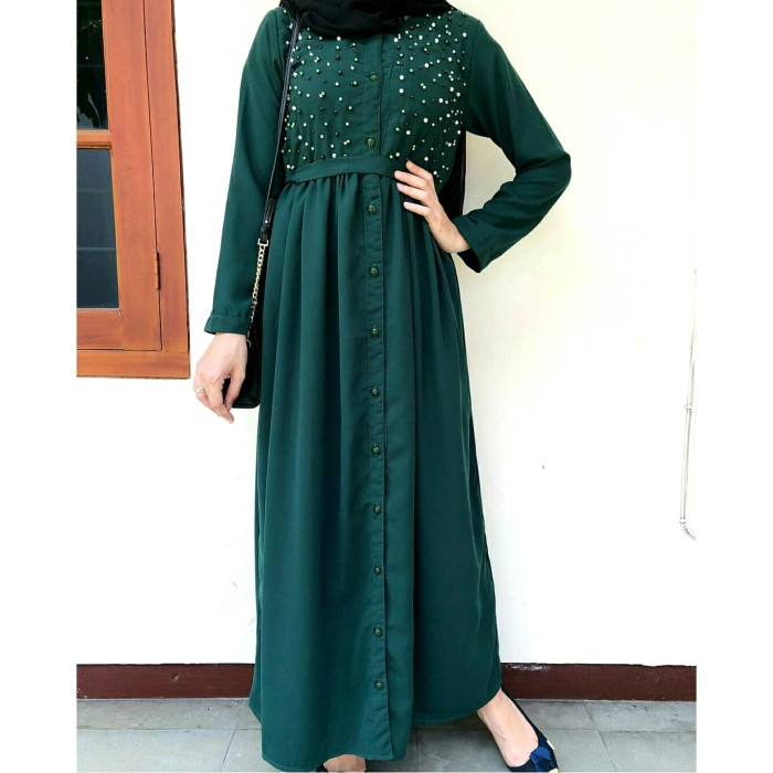 Dress Pesta Hijau Botol Gamis Brokat