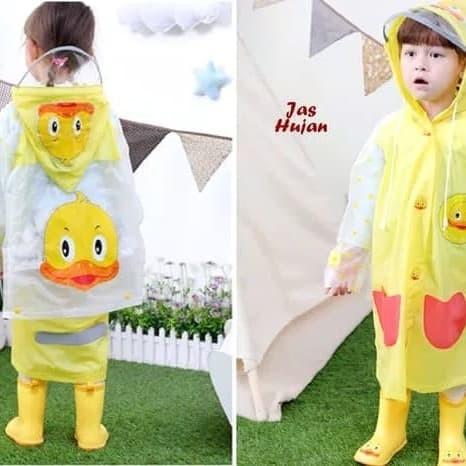 Jas hujan anak lucuu duck yellow