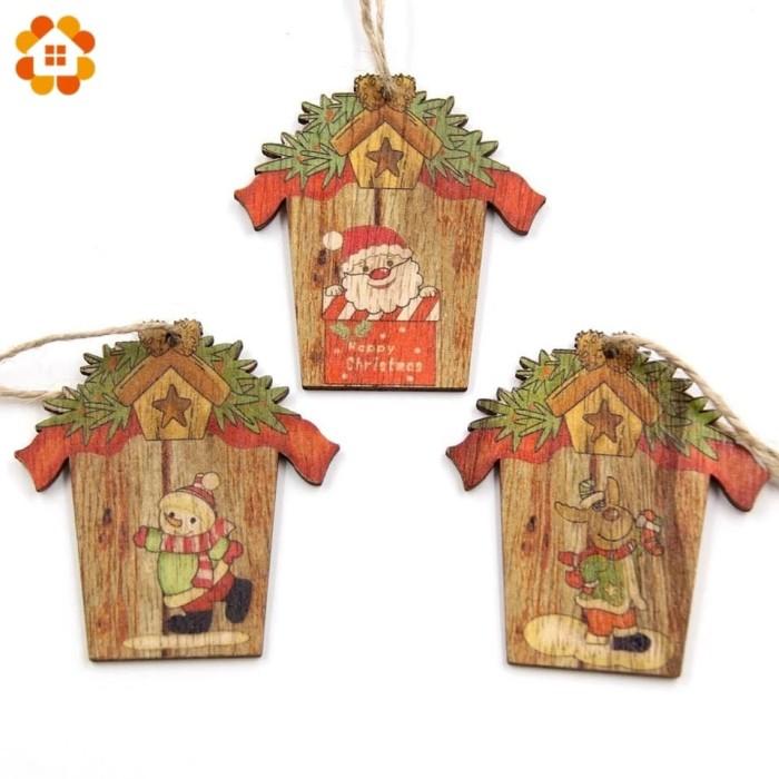Jual 1pcs Creative Christmas Wooden Pendants Ornaments Diy Wood
