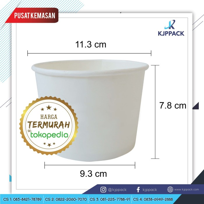 Jual Paper Bowl 17oz 500ml Soup Cup Paper Mangkok Kertas