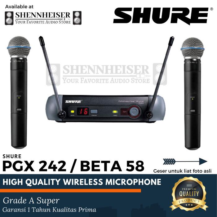 harga Microphone wireless shure pgx 242 / beta 58 (dus) wireless microphone Tokopedia.com