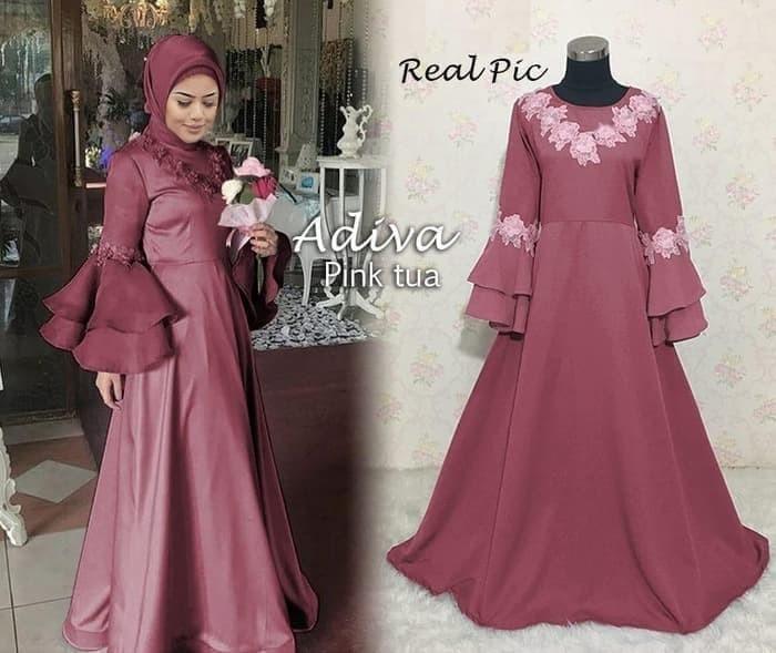 Jual Gamis Pesta Syar I Lengan Lonceng Adiva Pink Tua Bordir Bunga Cantik Dki Jakarta Grosir Keisha Fashion Tokopedia