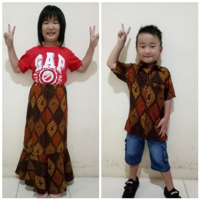 Jual Couple Batik Anak Hurey Rok Duyung Anak Perempuan Dan Kemeja Kids Pria Cokelat Muda Xl Shining16 Ishika Tokopedia
