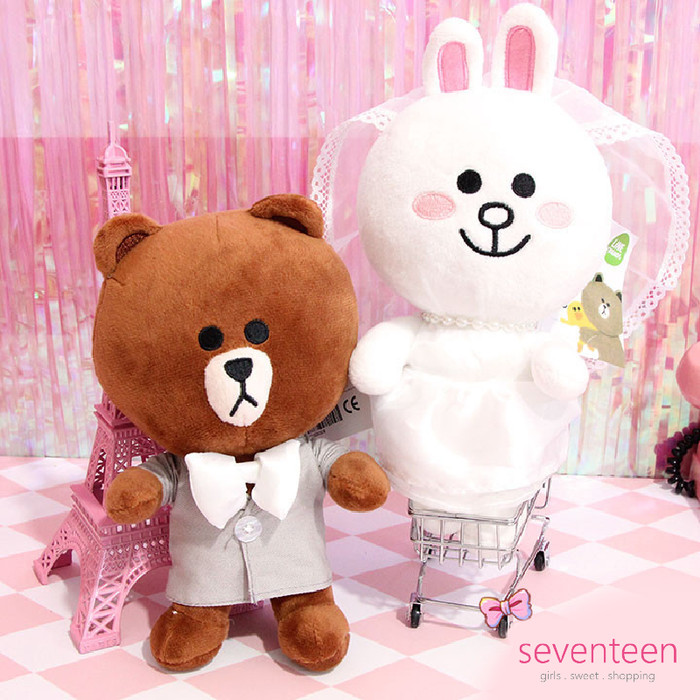 Boneka hadiah line friends couple - brown cony wedding new edition 37f4935dbc