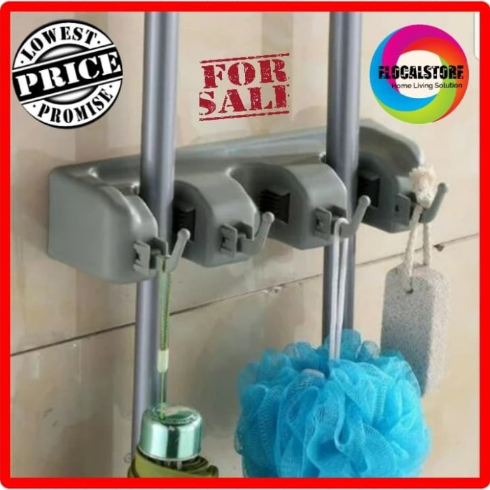 Gantungan Sapu Alat Pel Isi Hook 3 Slot Magic Mop Holder